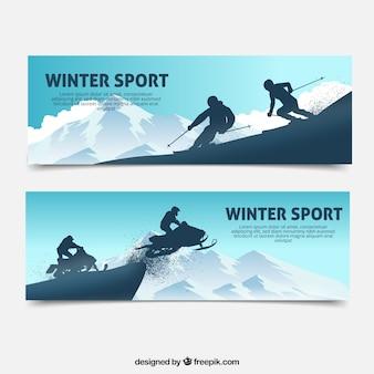 Banners de deportes de invierno con dos personas