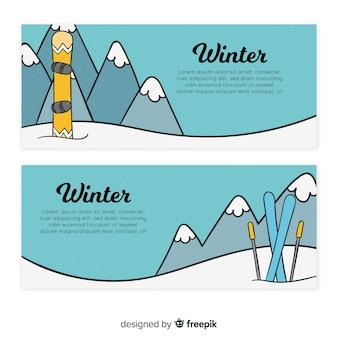 Banners de deportes de invierno