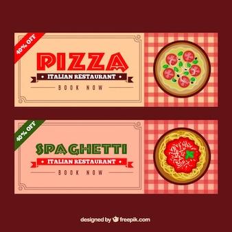 Banners de descuento de pizzería