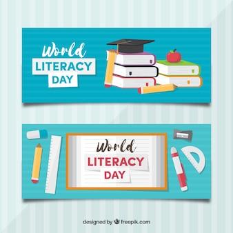 Banners del día de la alfabetización con libros