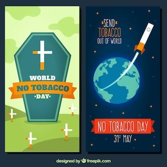 Banners del día antitabaco con tumba y cohete