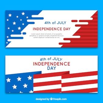 Banners del día de la independencia con diseño de bandera