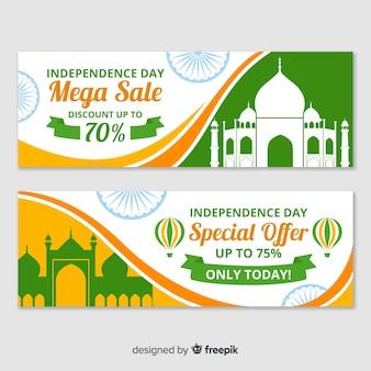 Banners del día de la independencia de la india en diseño plano