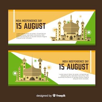 Banners del día de la independencia de india en diseño plano