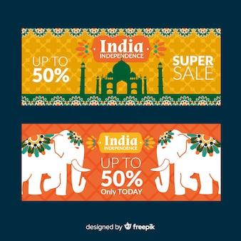 Banners del día de la independencia de india