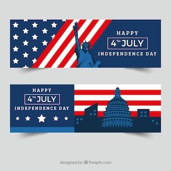 Banners del día de la independencia con monumentos en diseño plano