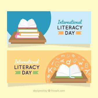 Banners del día internacional de la alfabetización