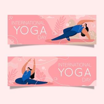 Banners del día internacional del yoga