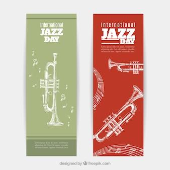 Banners del día de jazz con bocetos de trompetas