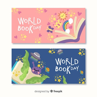 Banners del día del libro dibujado a mano