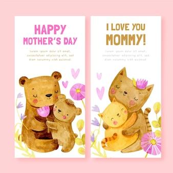 Banners del día de la madre en acuarela pintados a mano.