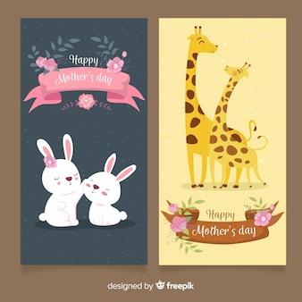 Banners del día de la madre dibujado a mano