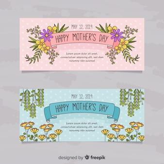 Banners del día de la madre dibujados a mano