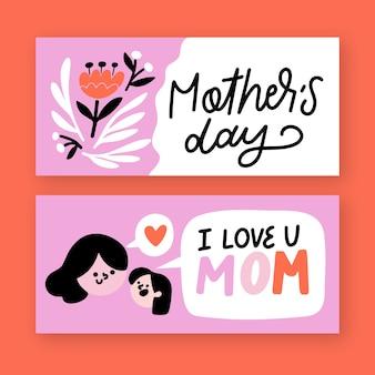 Banners del día de la madre de diseño dibujado a mano