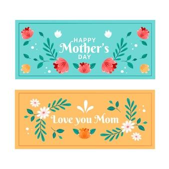 Banners del día de la madre en diseño plano