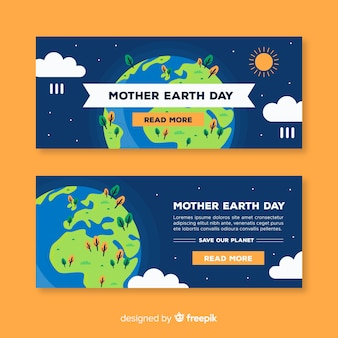 Banners del día de la madre tierra