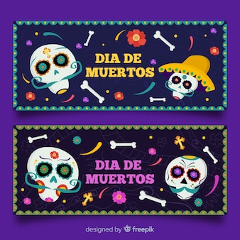 Banners del día de muertos con calaveras y huesos