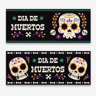Banners del día de muertos con calaveras.