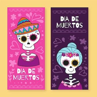 Banners de dia de muertos dibujados a mano