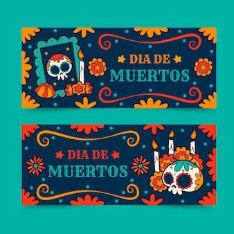 Banners del día de muertos dibujados a mano