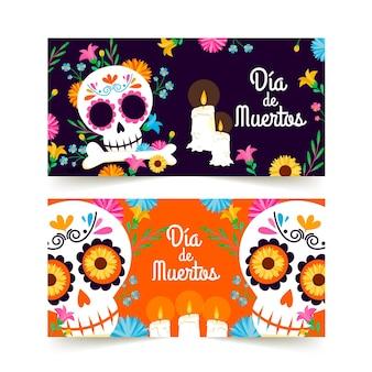 Banners del día de muertos diseño plano con calavera.
