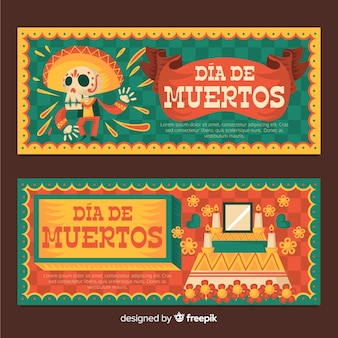 Banners de dia de muertos en diseño plano