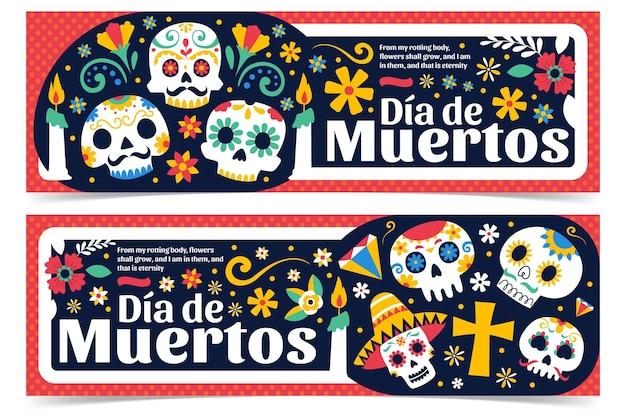 Banners de día de muertos en diseño plano