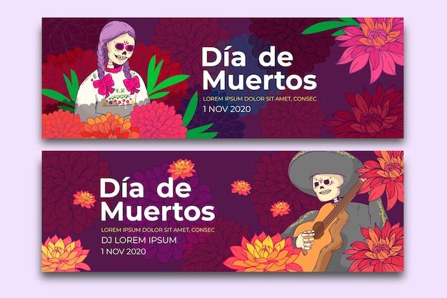 Banners del día de muertos en diseño plano