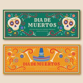 Banners del día de muertos diseño vintage