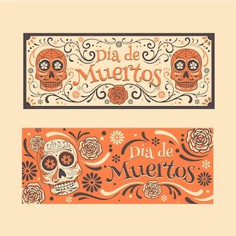 Banners del día de muertos de diseño vintage