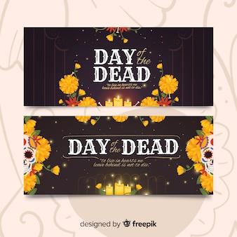 Banners del día de los muertos de diseño vintage