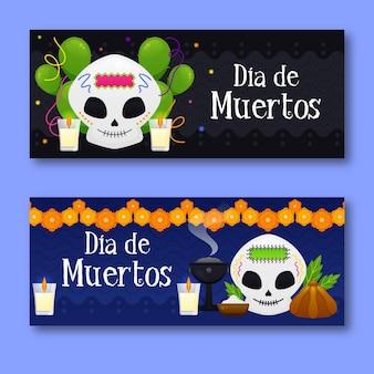 Banners del día de muertos con velas.