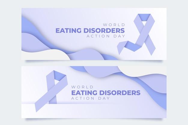 Banners del día mundial de la acción de los trastornos alimentarios en papel