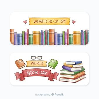 Banners del día mundial del libro en acuarela