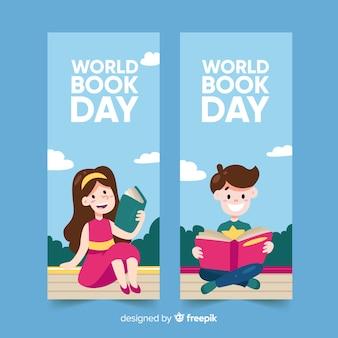 Banners del día mundial del libro dibujado a mano