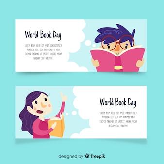 Banners del día mundial del libro dibujados a mano