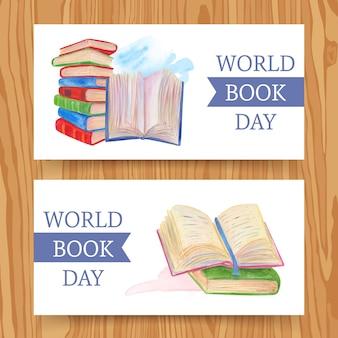 Banners del día mundial del libro de diseño de acuarela