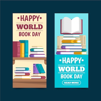Banners del día mundial del libro de diseño plano