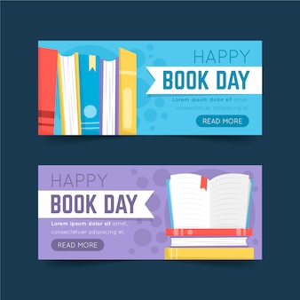 Banners del día mundial del libro en diseño plano