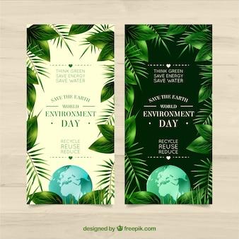 Banners del día mundial del medio ambiente con plantas en diseño realista