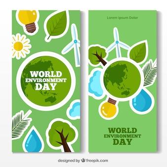 Banners del día mundial del medioambiente con objetos planos