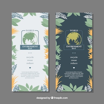 Banners del día mundial del medioambiente con vegetación decorativa