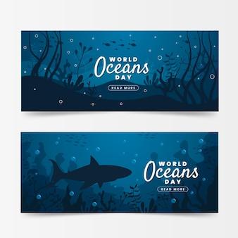 Banners del día mundial de los océanos con tiburones y vegetación