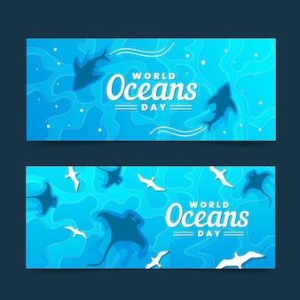 Banners del día mundial de los océanos con tiburones