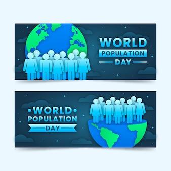Banners del día mundial de la población en estilo papel