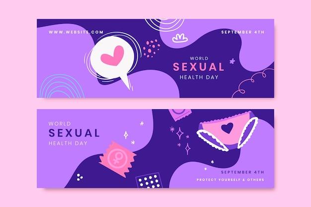 Banners del día mundial de la salud sexual dibujados a mano