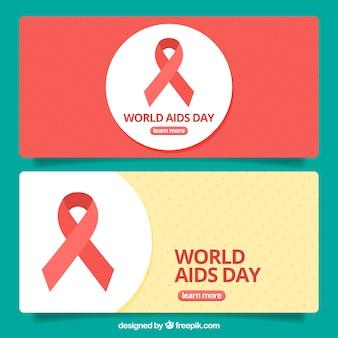 Banners del día mundial del sida con lazo rojo