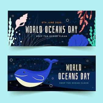 Banners del día de los océanos dibujados a mano