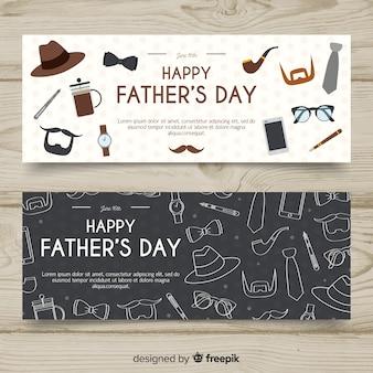 Banners del día del padre dibujados a mano