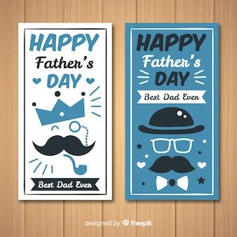 Banners del día del padre en diseño plano